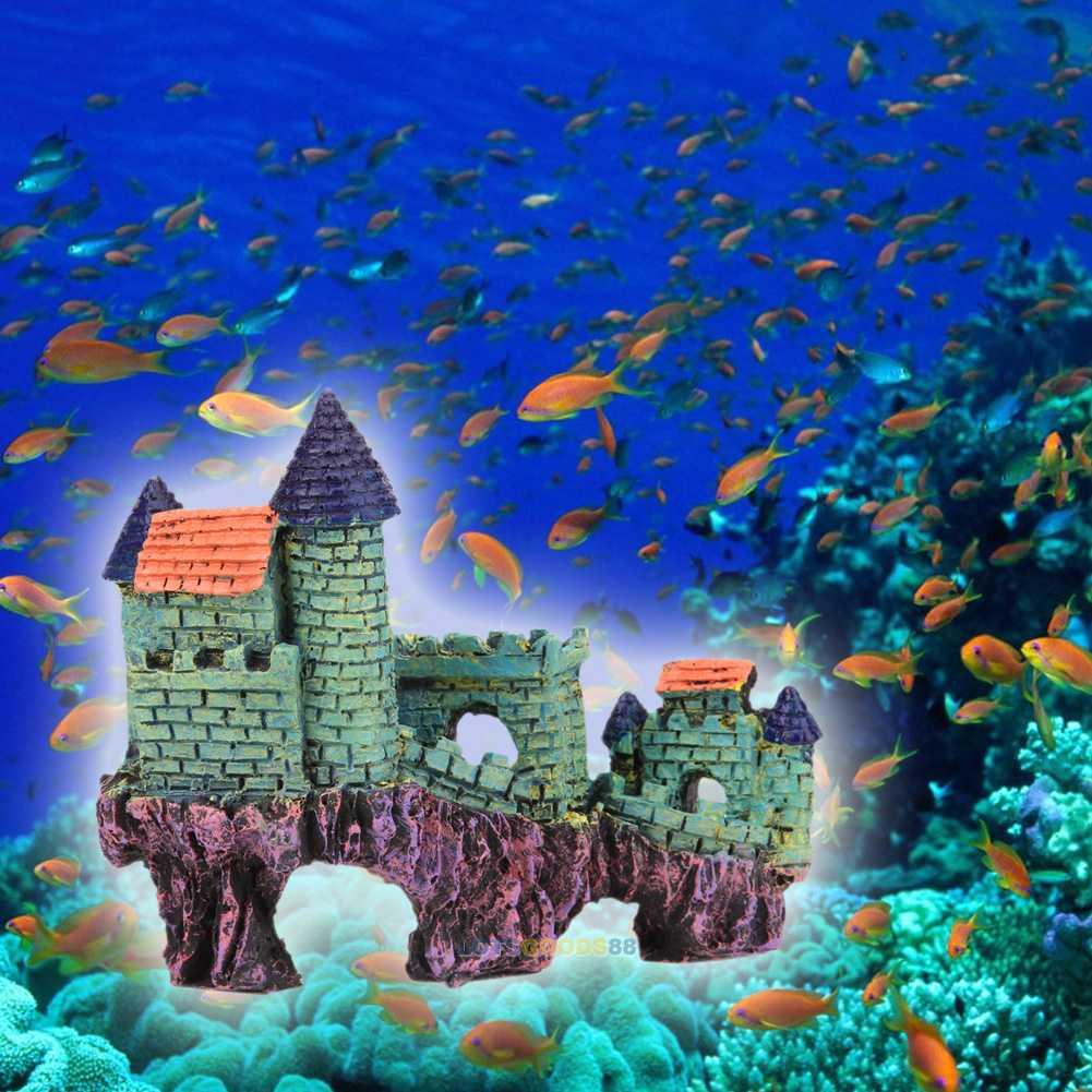 Resin artificial tower castle aquarium ornament fish tank for Tower fish tank