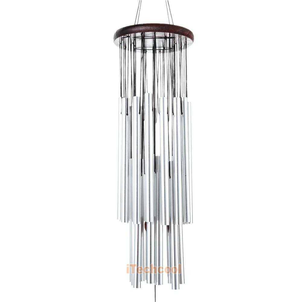 27 silver tubes wind chimes outdoor copper metal living. Black Bedroom Furniture Sets. Home Design Ideas