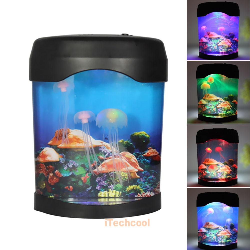 romantic jelly fish tank water lamp bedroom mood led night light color